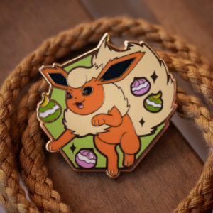 Flareon hard enamel pin, gold plating