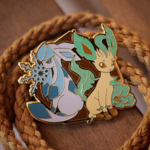 Glaceon and Leafeon hard enamel pin, gold plating