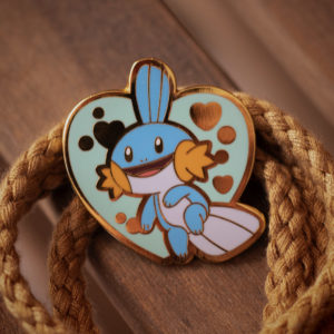 Mudkip hard enamel pin, heart shaped.
