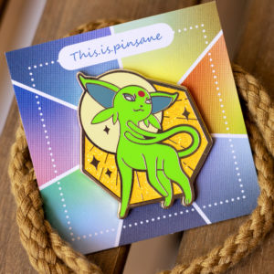 Beautiful green shiny Espeon enamel pin.