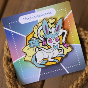 Shiny Sylveon hard enamel pin, gold plating