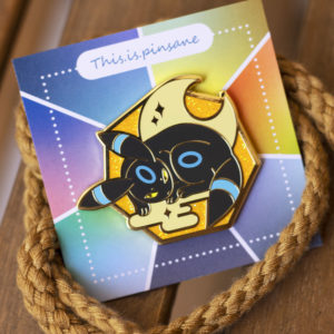 Shiny Umbreon hard enamel pin, gold plating