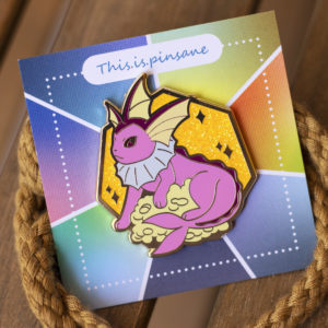 Shiny Vaporeon hard enamel pin, gold plating