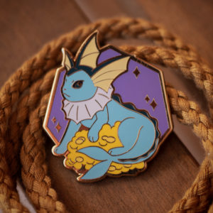 Vaporeon hard enamel pin, gold plating