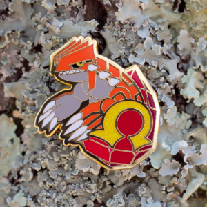 Groudon gold enamel pin